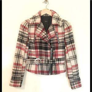 Express Vtg 90s plaid wool moto jacket coat XS Y2K